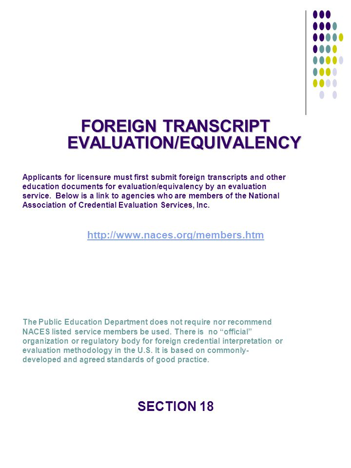 FOREIGN TRANSCRIPT EVALUATION/EQUIVALENCY