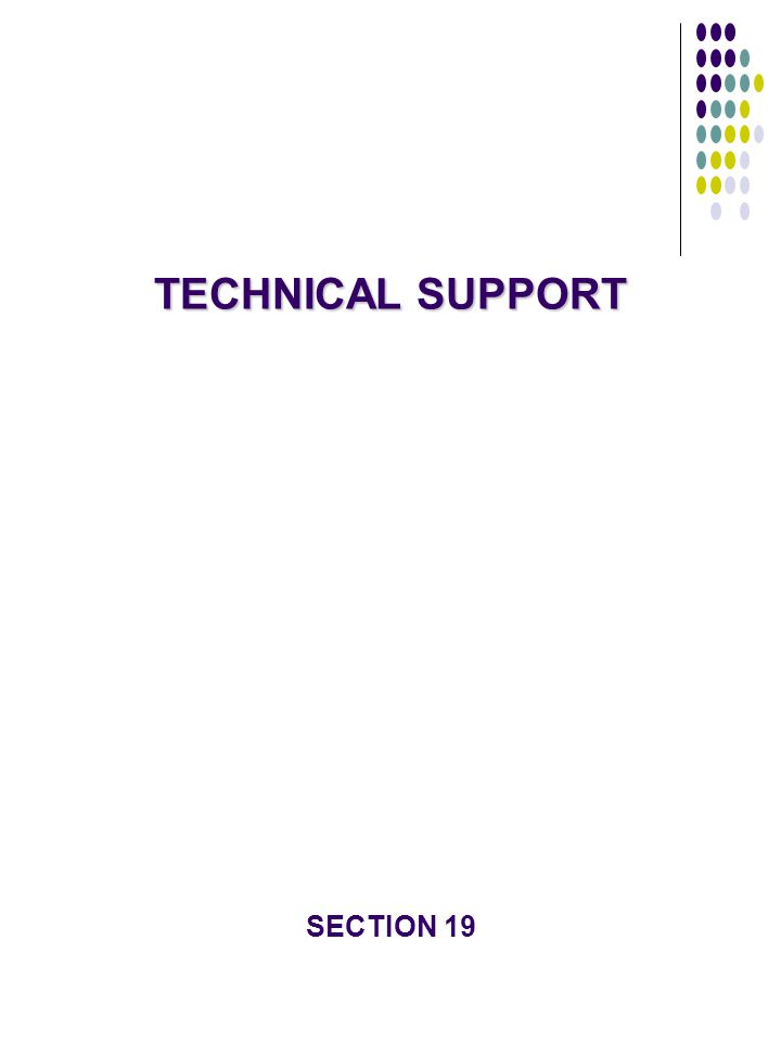 TECHNICAL SUPPORT SECTION 19