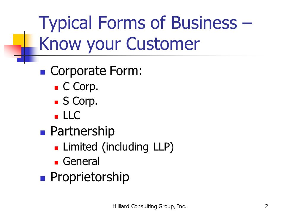 Typical Forms of Business – Know your Customer