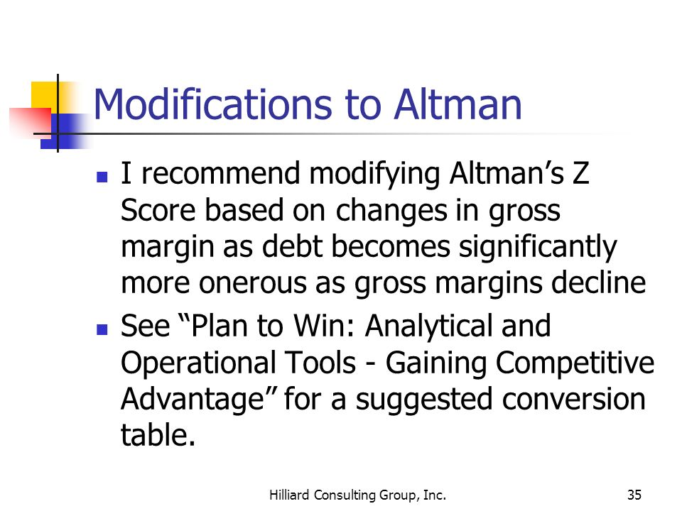 Modifications to Altman