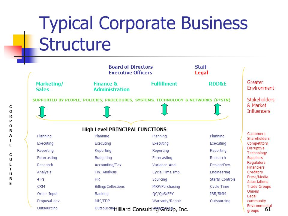 Typical Corporate Business Structure