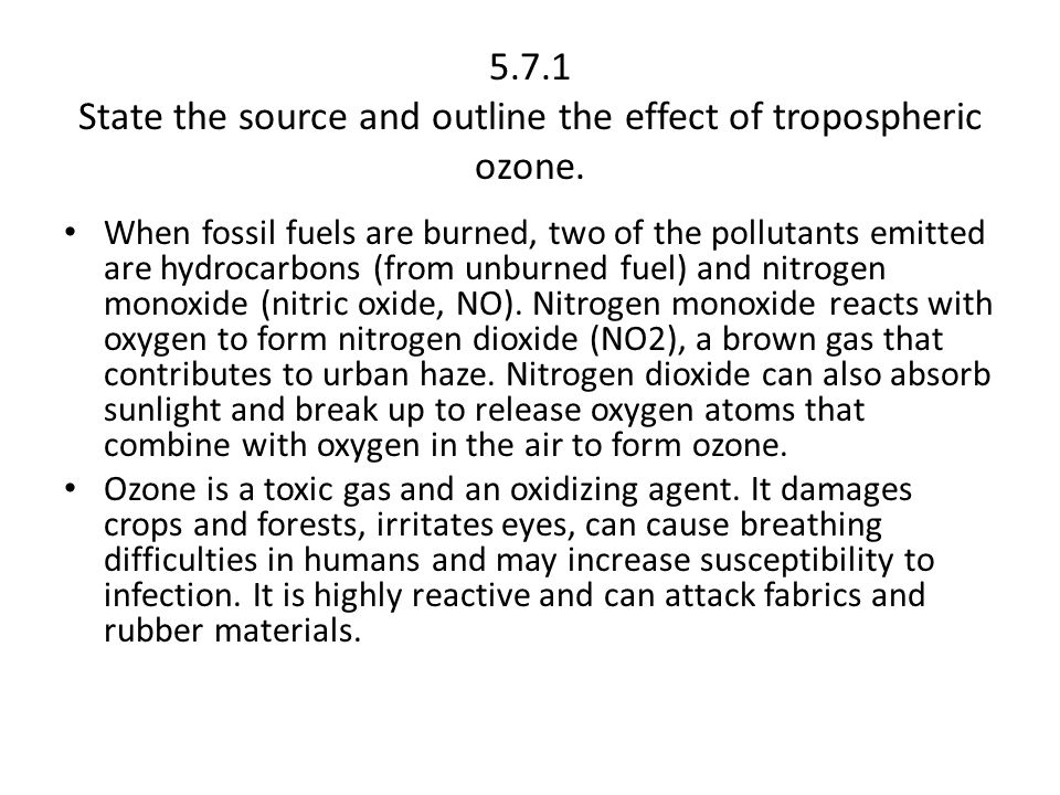 5.7.1 State the source and outline the effect of tropospheric ozone.