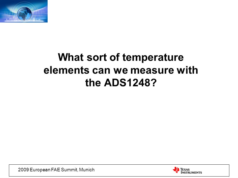 What sort of temperature elements can we measure with the ADS1248