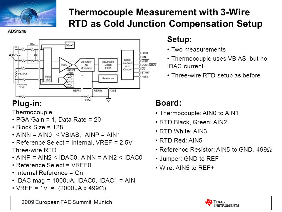 Thermocouple Measurement with 3-Wire RTD as Cold Junction Compensation Setup