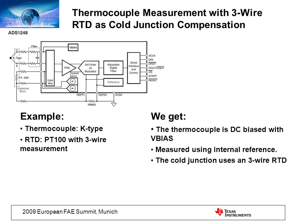 Thermocouple Measurement with 3-Wire RTD as Cold Junction Compensation
