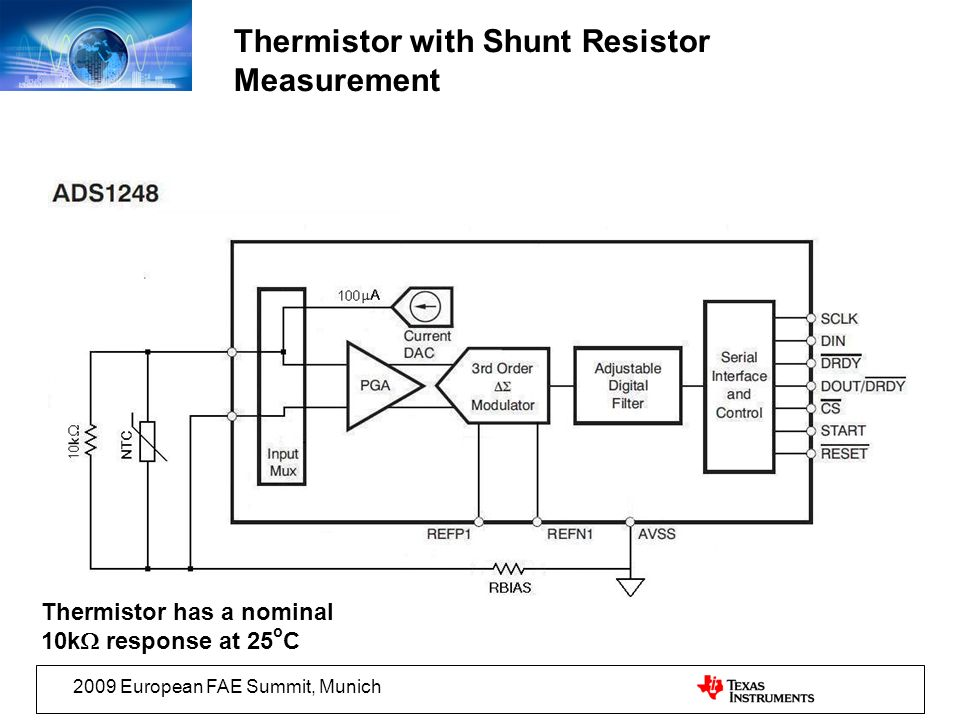 Thermistor with Shunt Resistor Measurement