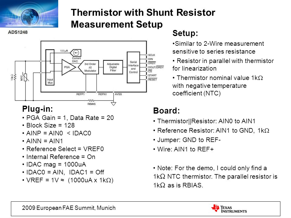 Thermistor with Shunt Resistor Measurement Setup