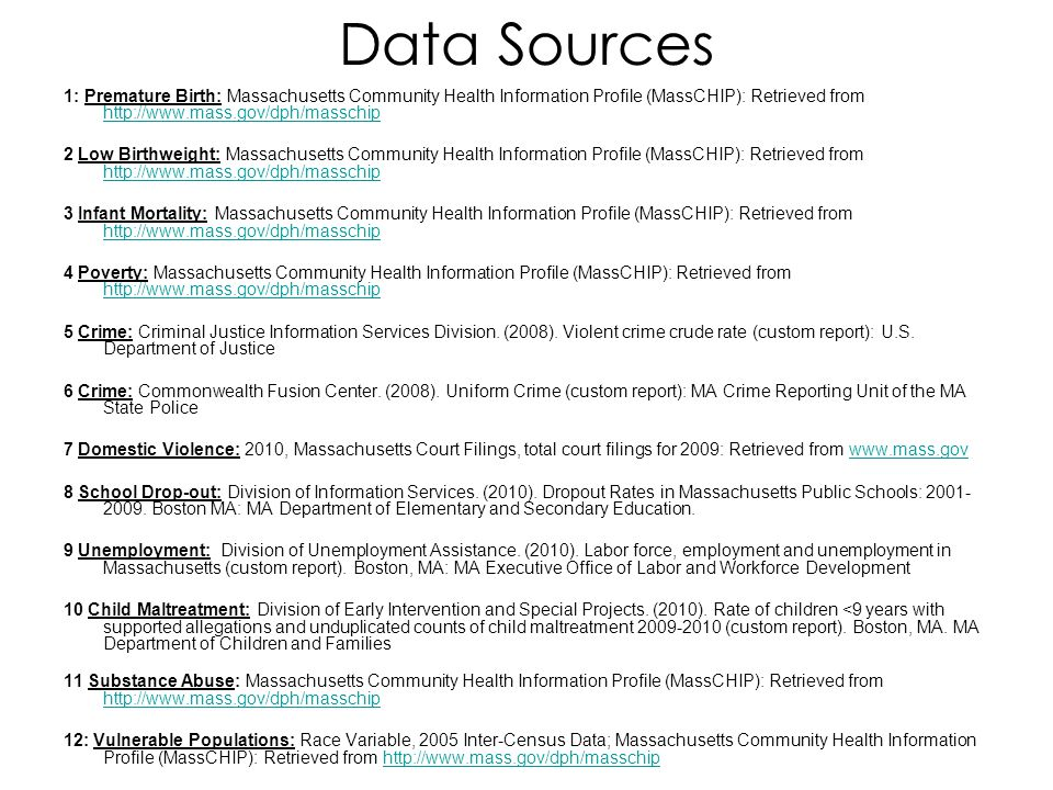 Data Sources 1: Premature Birth: Massachusetts Community Health Information Profile (MassCHIP): Retrieved from http://www.mass.gov/dph/masschip.