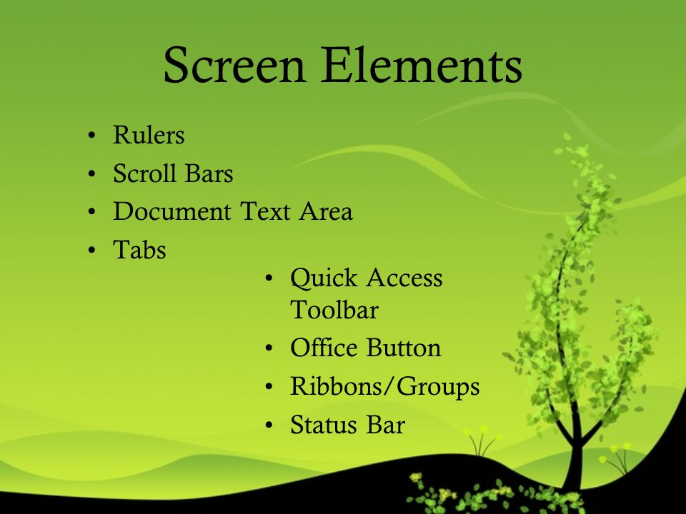 Screen Elements Rulers Scroll Bars Document Text Area Tabs
