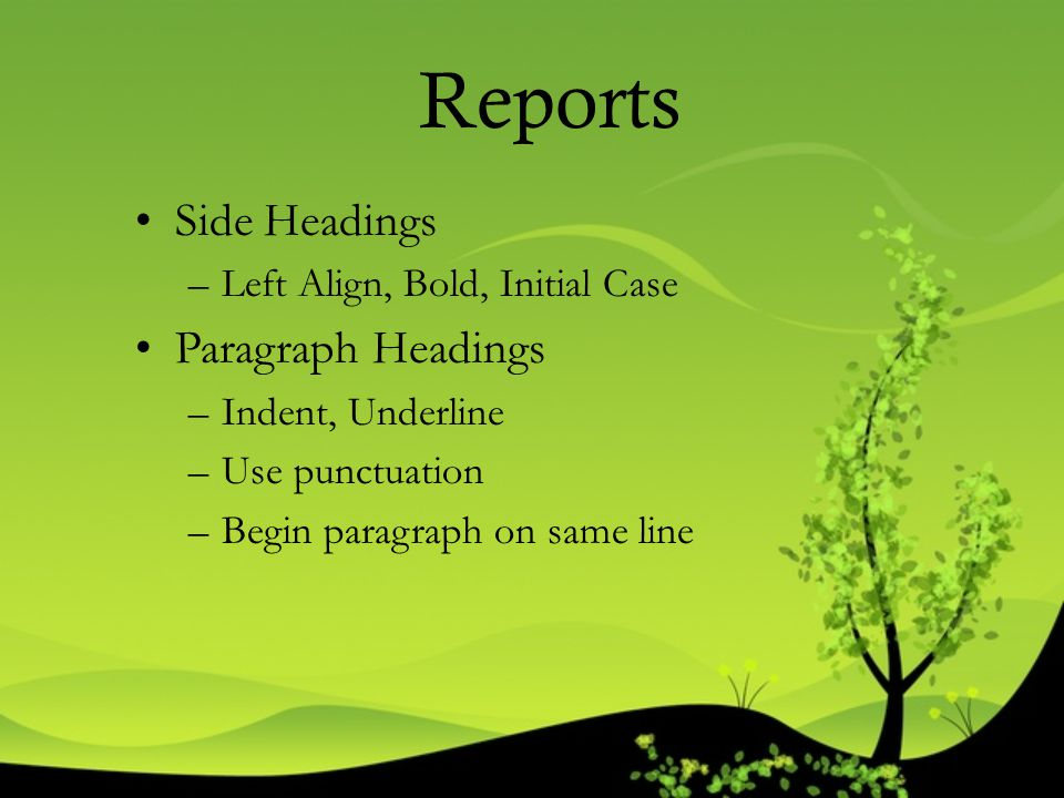 Reports Side Headings Paragraph Headings