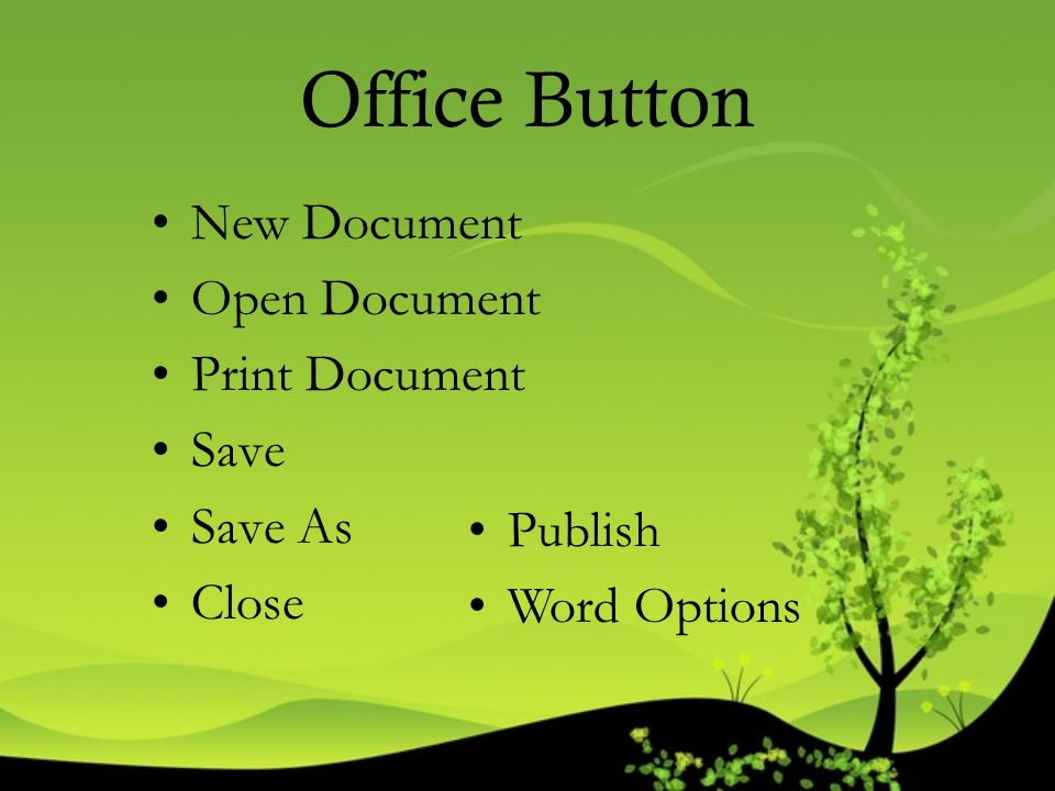 Office Button New Document Open Document Print Document Save Save As