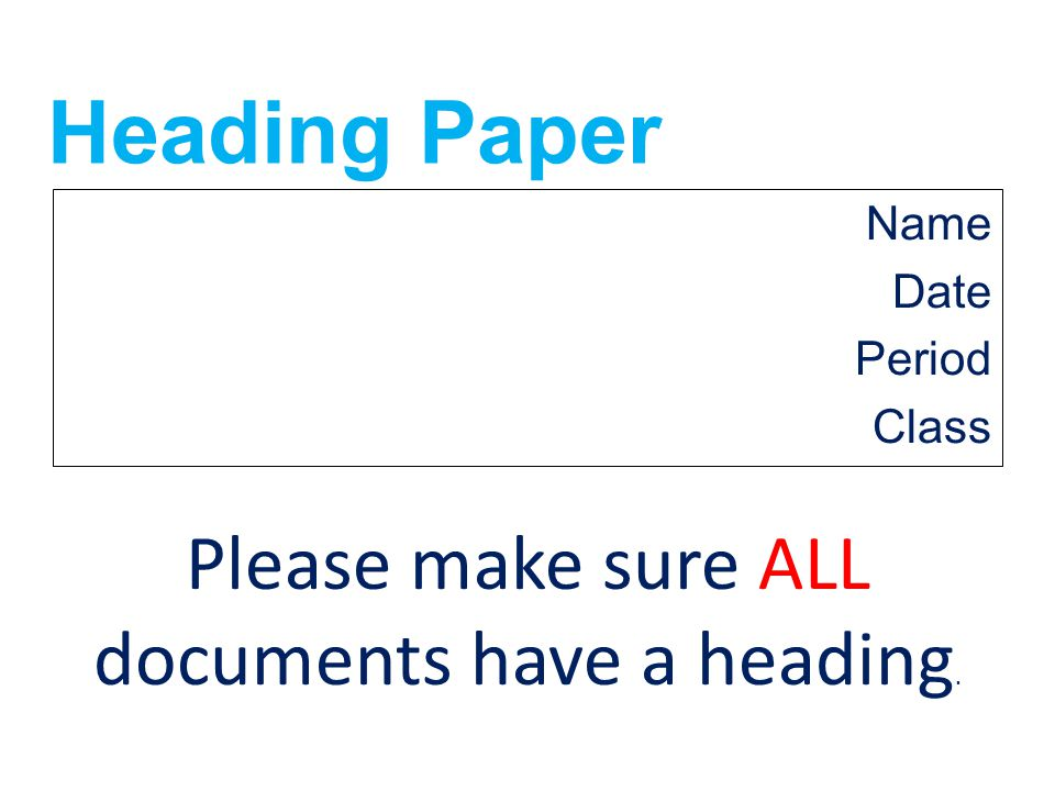 Please make sure ALL documents have a heading.