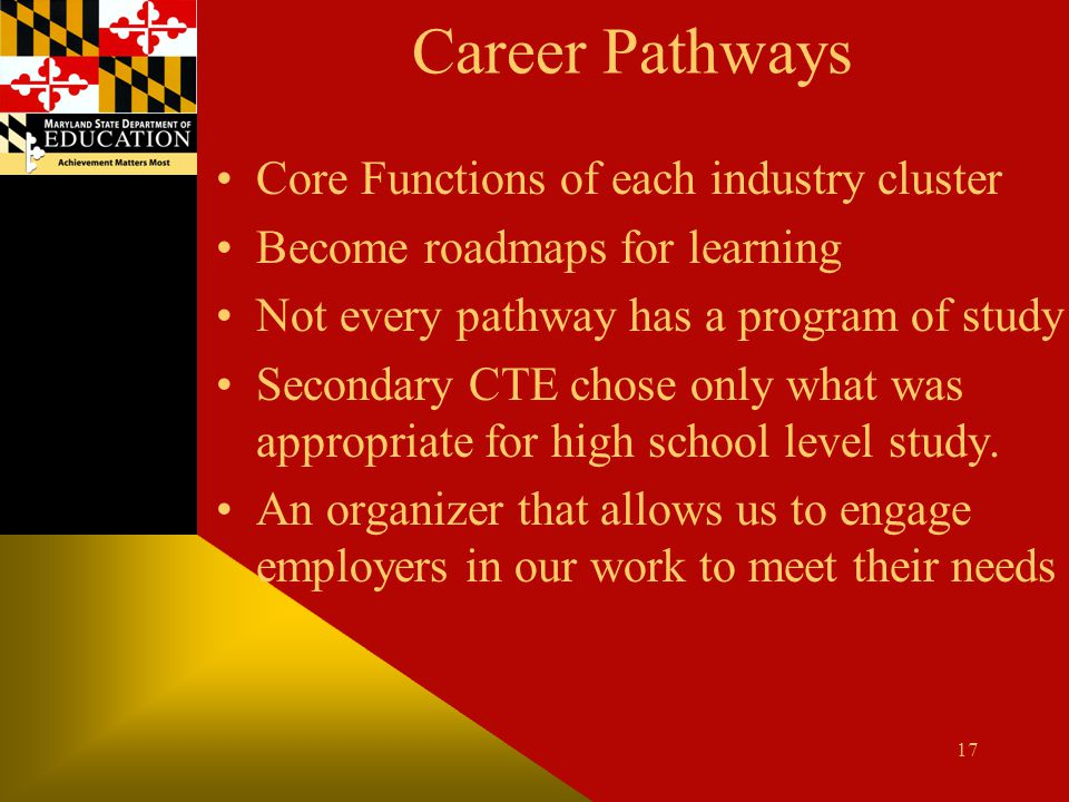 Career Pathways Core Functions of each industry cluster