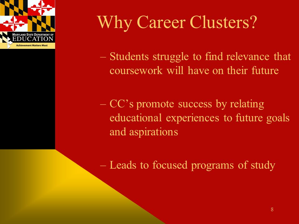 Why Career Clusters Students struggle to find relevance that coursework will have on their future.