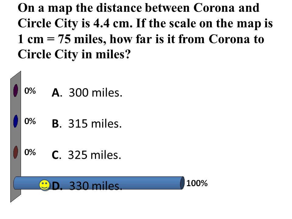 On a map the distance between Corona and Circle City is 4. 4 cm