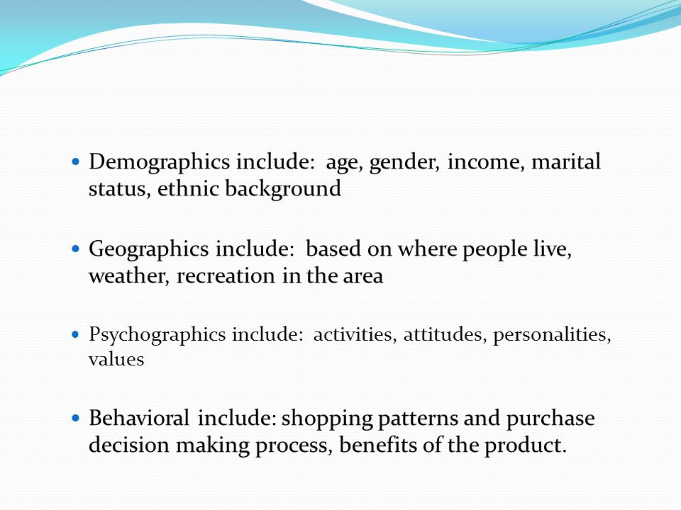 Demographics include: age, gender, income, marital status, ethnic background