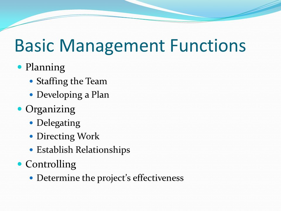 Basic Management Functions