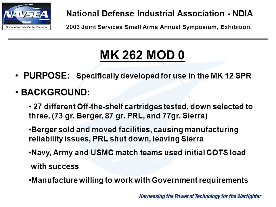 MK 262 MOD 0 PURPOSE: Specifically developed for use in the MK 12 SPR