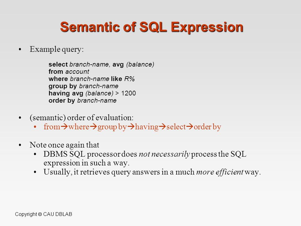 Semantic of SQL Expression
