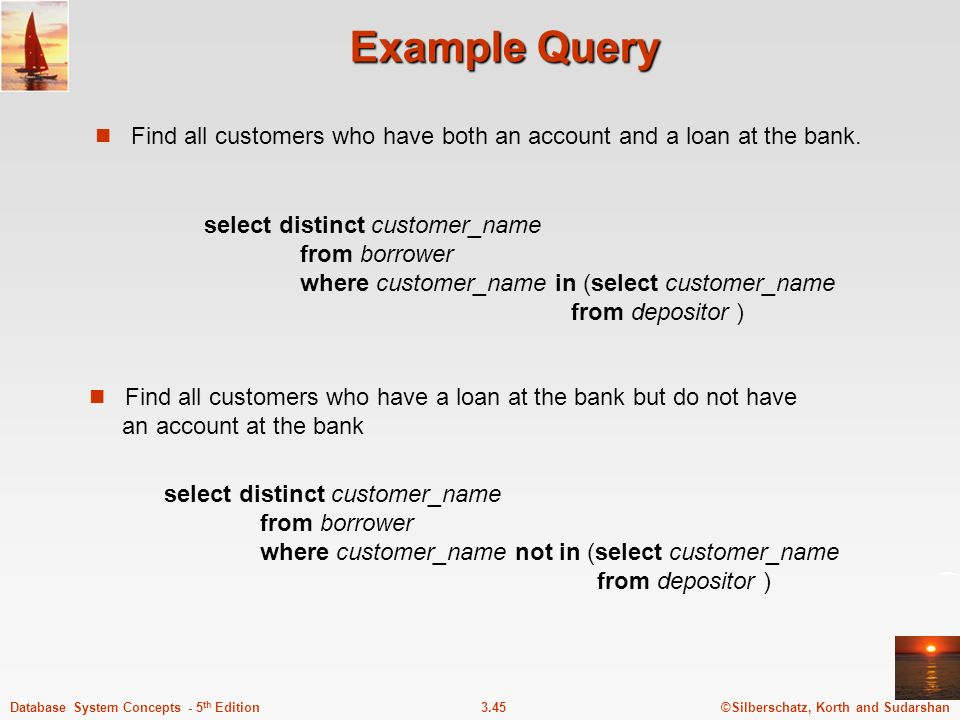 Example Query Find all customers who have both an account and a loan at the bank.
