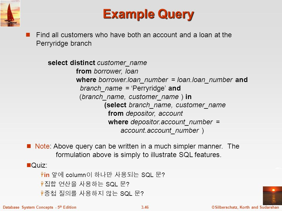 Example Query Find all customers who have both an account and a loan at the Perryridge branch.