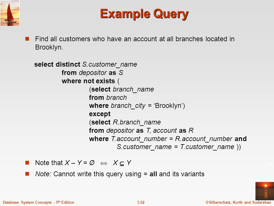 Example Query Find all customers who have an account at all branches located in Brooklyn.