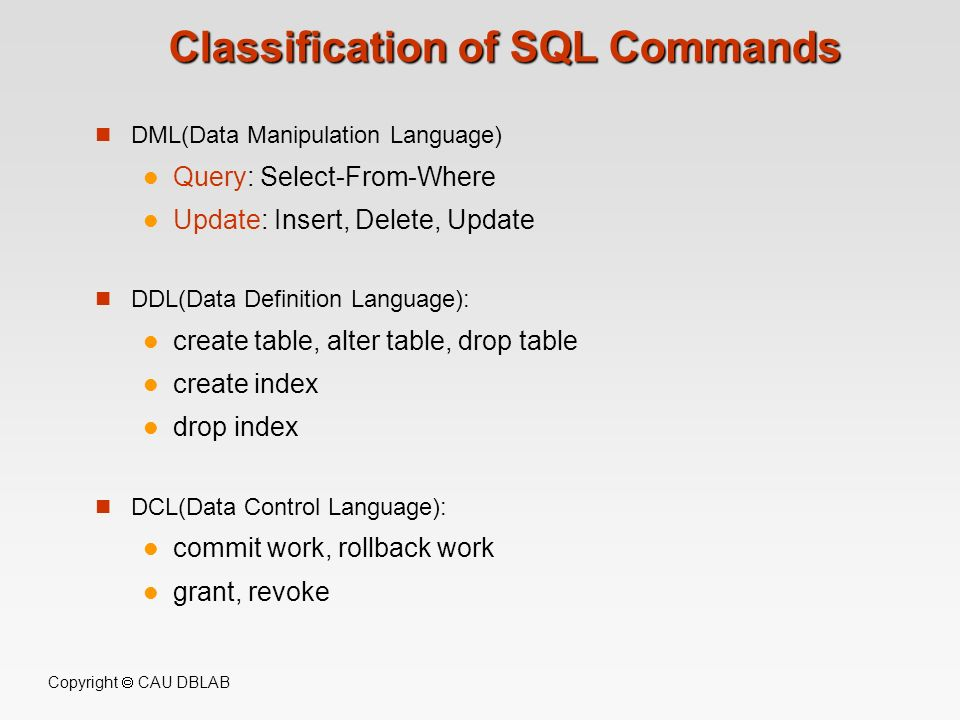 Classification of SQL Commands