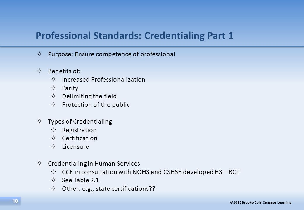 Professional Standards: Credentialing Part 1