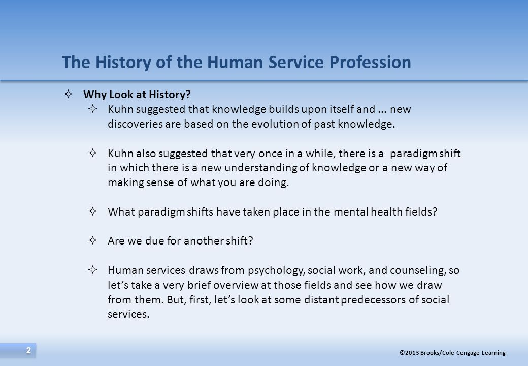 The History of the Human Service Profession