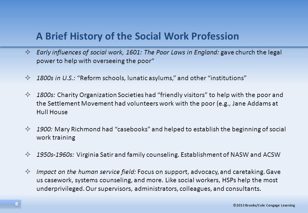 A Brief History of the Social Work Profession