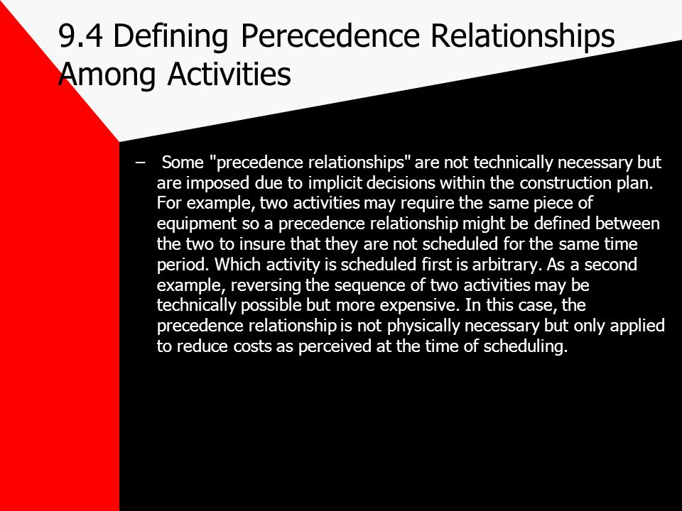 9.4 Defining Perecedence Relationships Among Activities