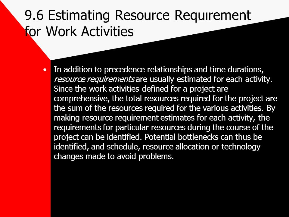 9.6 Estimating Resource Requırement for Work Activities