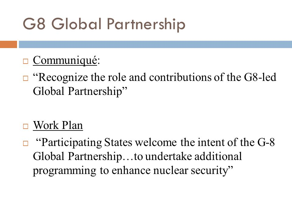 G8 Global Partnership Communiqué: