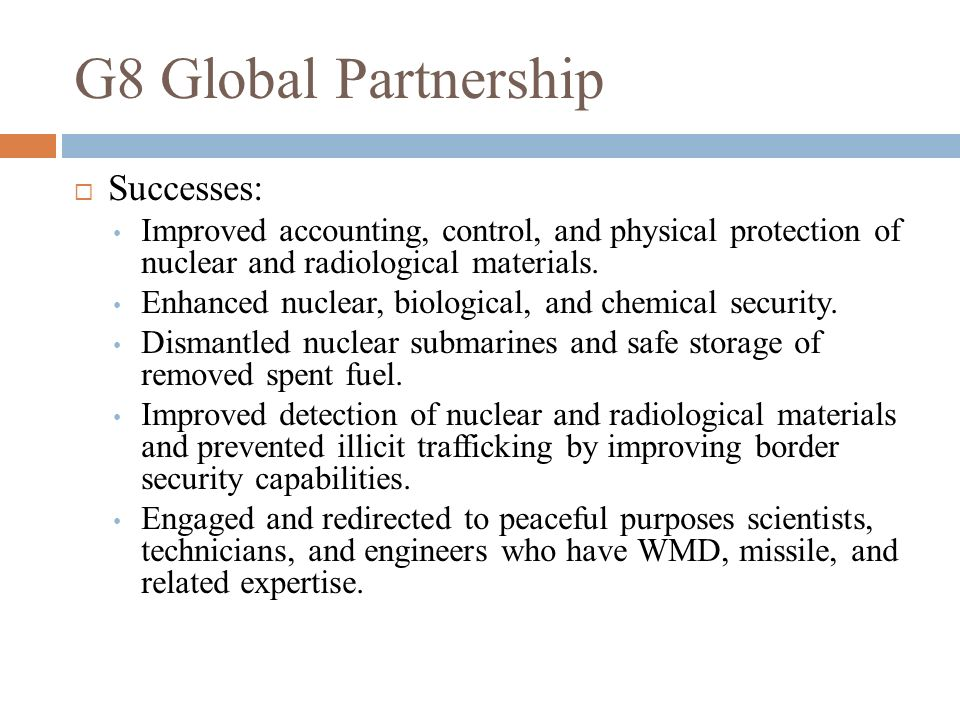 G8 Global Partnership Successes: