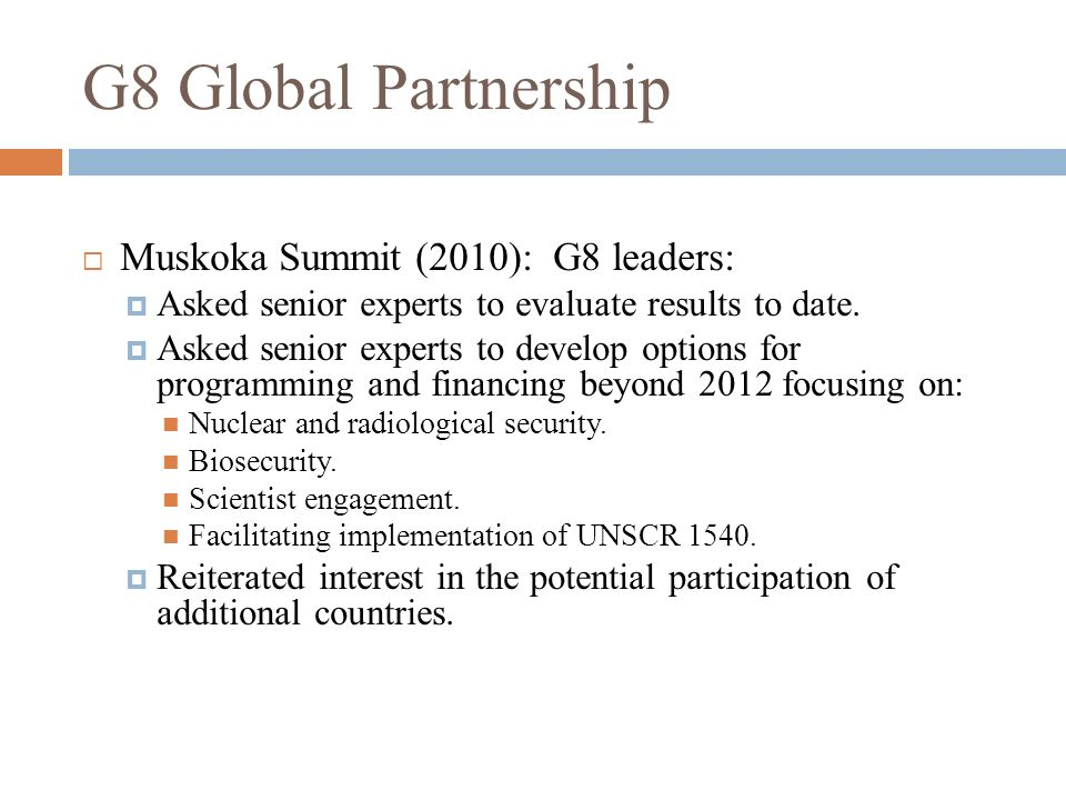 G8 Global Partnership Muskoka Summit (2010): G8 leaders: