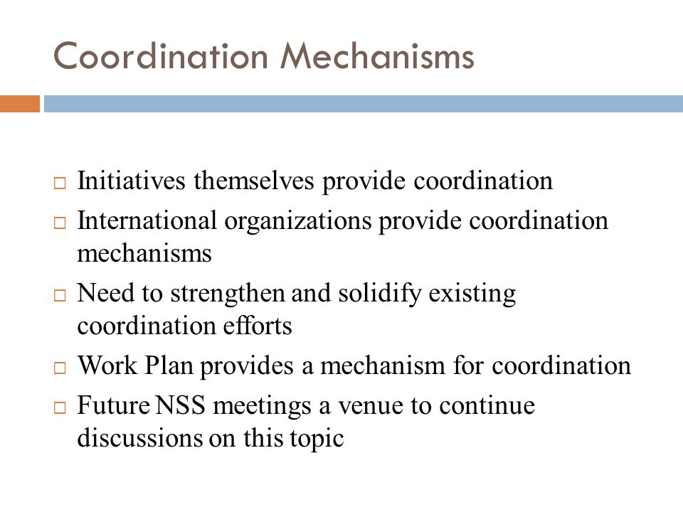 Coordination Mechanisms