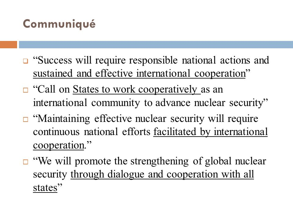 Communiqué Success will require responsible national actions and sustained and effective international cooperation
