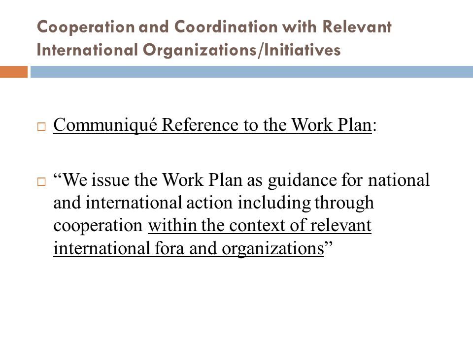 Communiqué Reference to the Work Plan:
