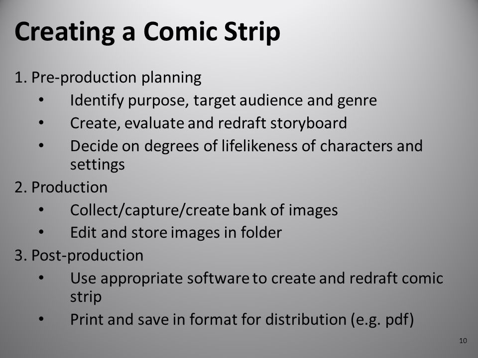 Creating a Comic Strip 1. Pre-production planning