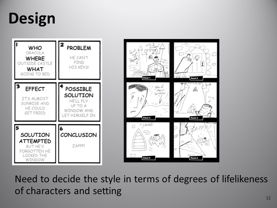 Design Need to decide the style in terms of degrees of lifelikeness of characters and setting