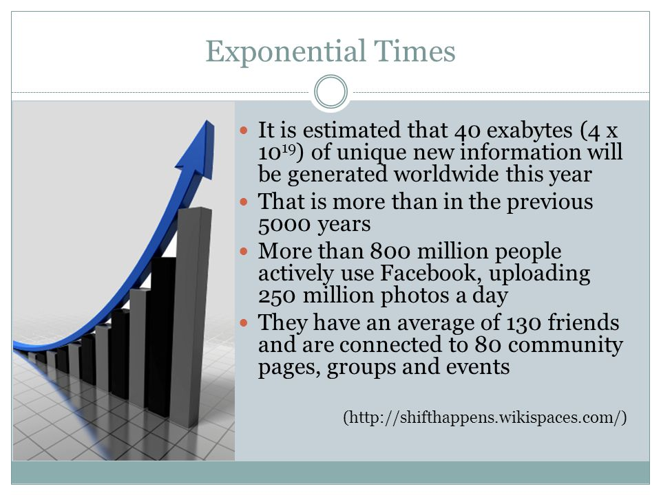 Exponential Times It is estimated that 40 exabytes (4 x 1019) of unique new information will be generated worldwide this year.