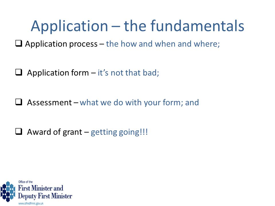 Application – the fundamentals