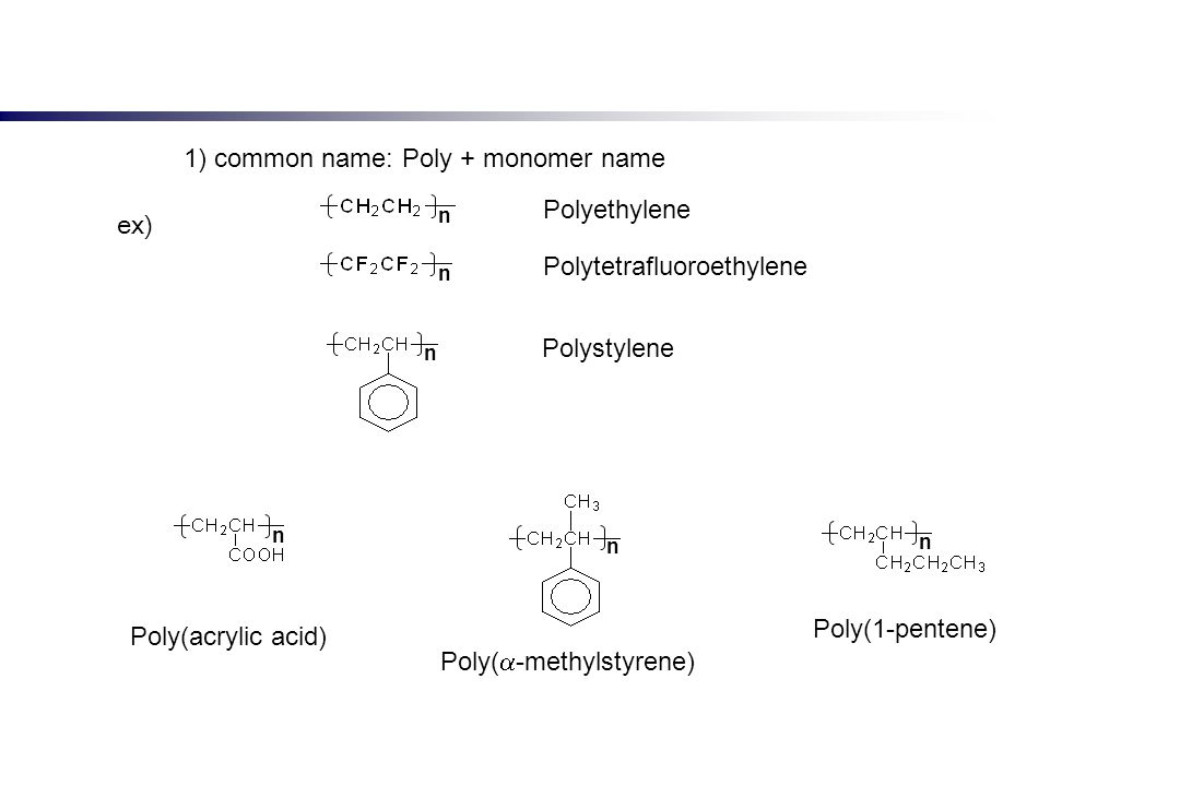 1) common name: Poly + monomer name