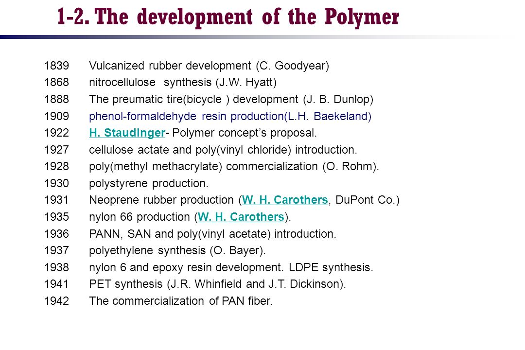 1-2. The development of the Polymer