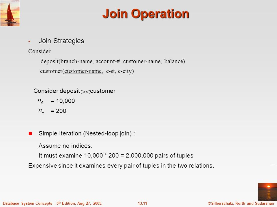 Join Operation Join Strategies Consider