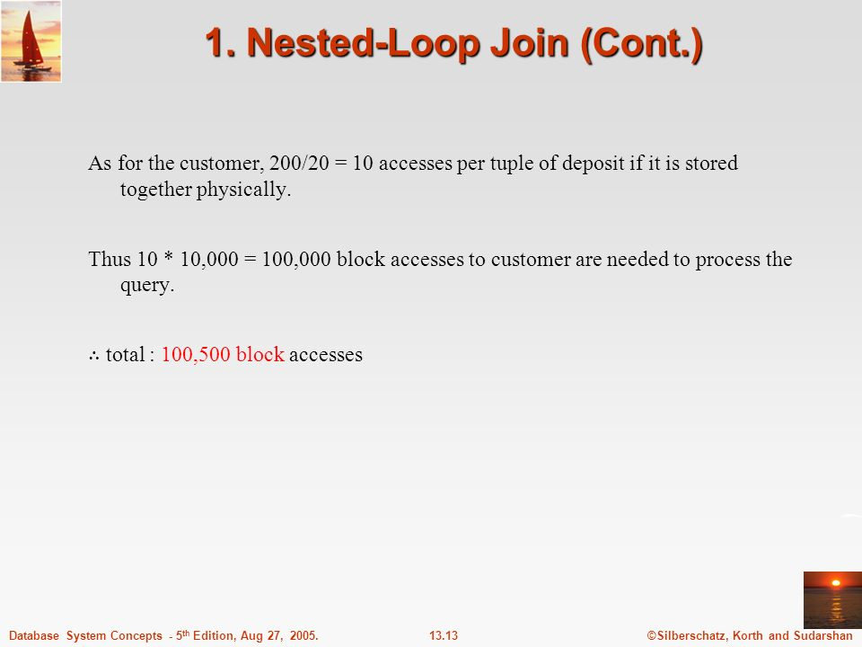 1. Nested-Loop Join (Cont.)