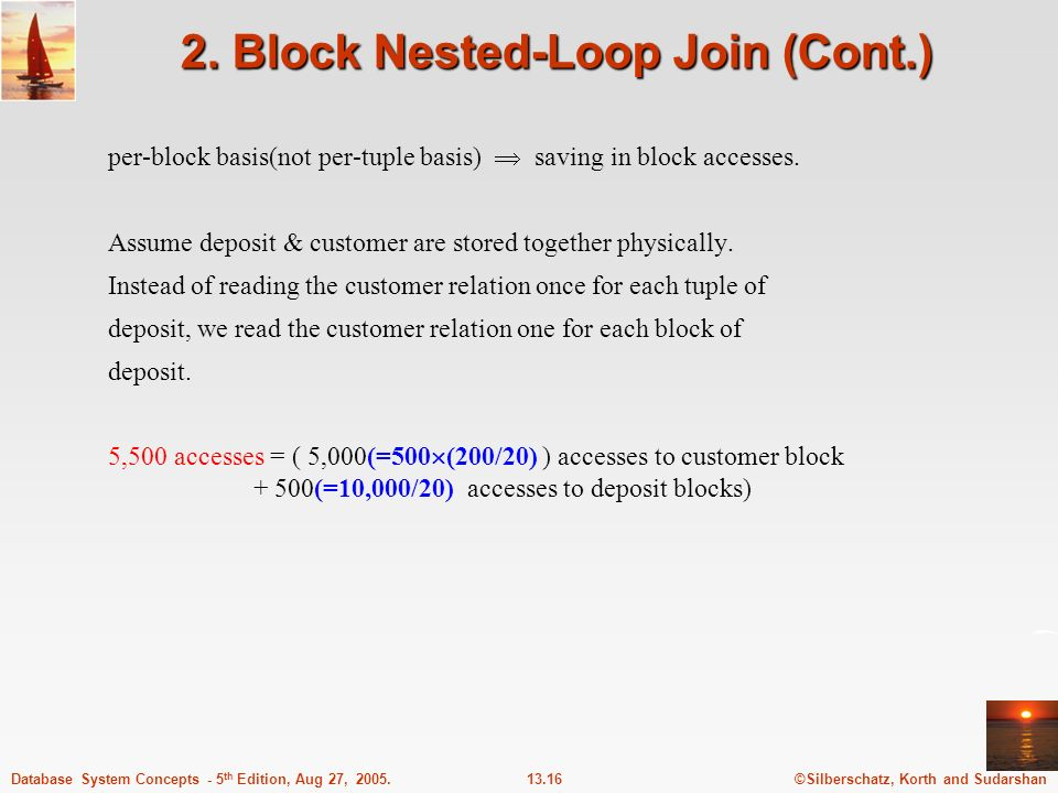 2. Block Nested-Loop Join (Cont.)