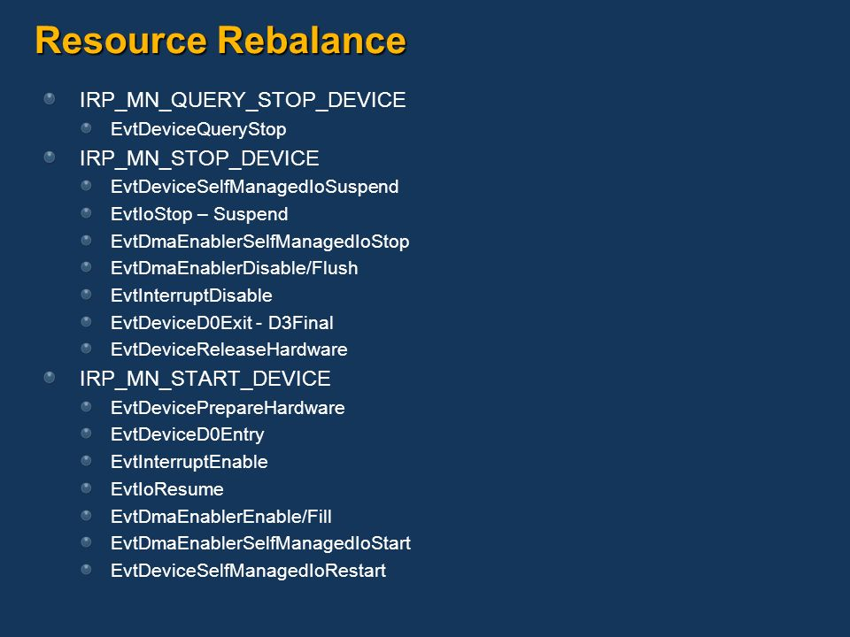 Resource Rebalance IRP_MN_QUERY_STOP_DEVICE IRP_MN_STOP_DEVICE