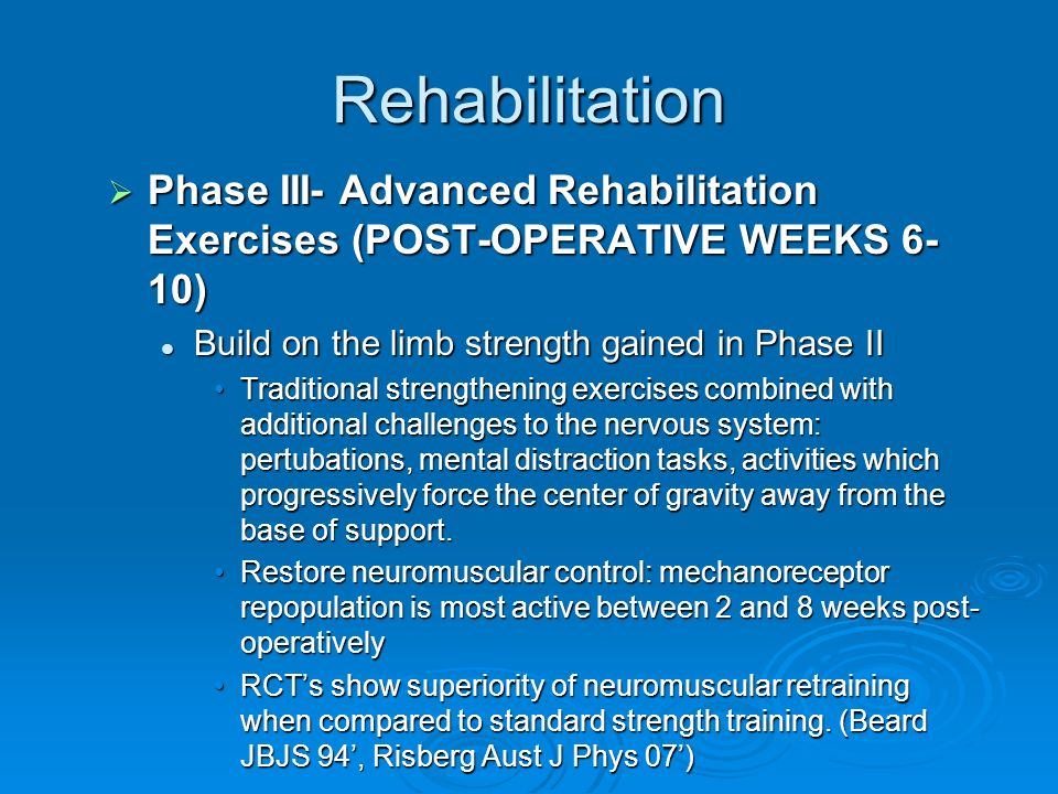 Rehabilitation Phase III- Advanced Rehabilitation Exercises (POST-OPERATIVE WEEKS 6-10) Build on the limb strength gained in Phase II.