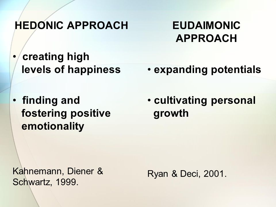 HEDONIC APPROACH EUDAIMONIC APPROACH